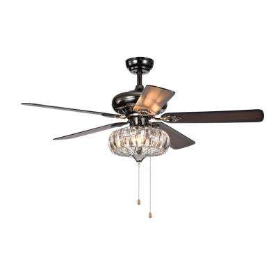 Chrysaor II 52 in. Indoor/Outdoor Pear Black Ceiling Fan with Light Kit