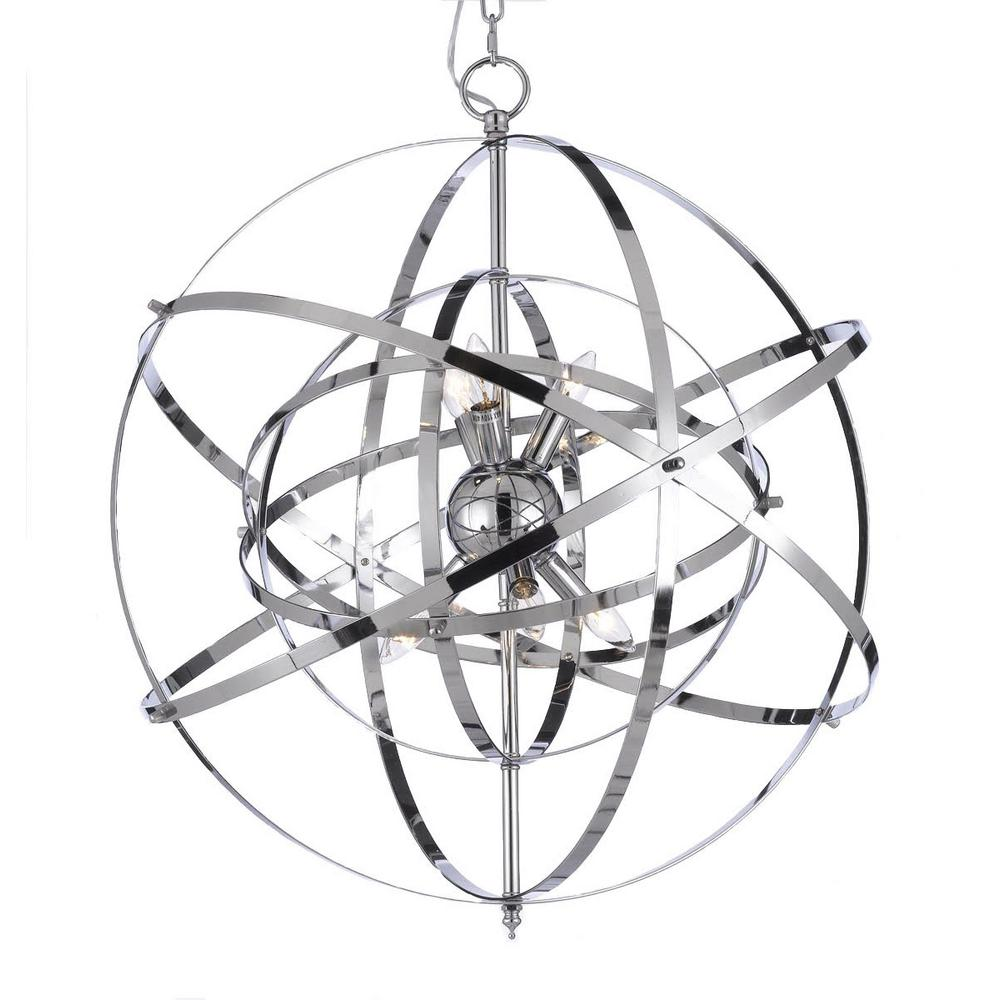 6-Light Orb Chrome Chandelier-T40-585