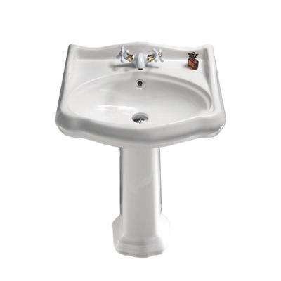 Traditional Pedestal Sink in White