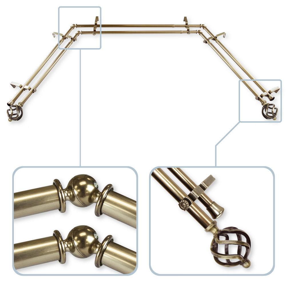 Rod Desyne Twist 13/16 in. Bay Window Double Curtain Rod 20 in. 36 in. 38 in. 72 in. - Antique Brass