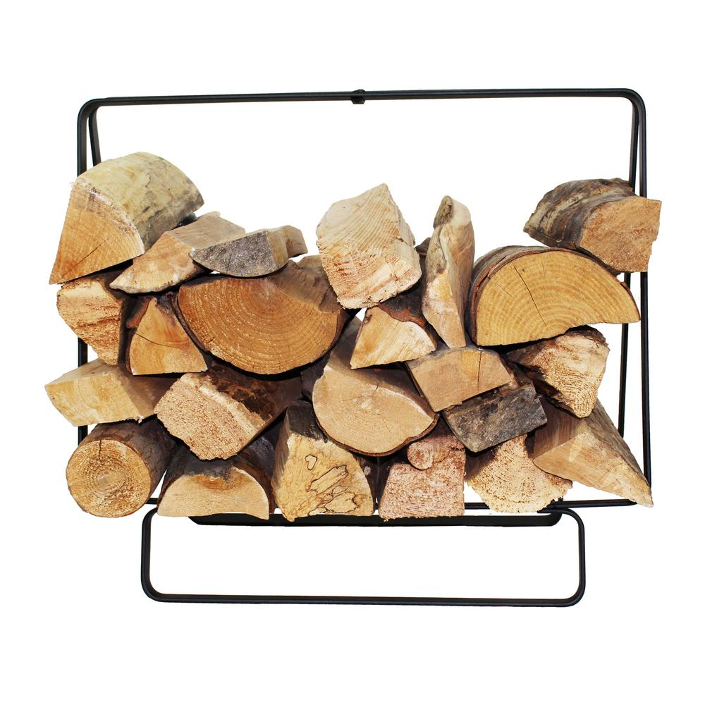 2.08 ft. Handcrafted Indoor/Outdoor Small Rectangular Firewood Rack with Handle