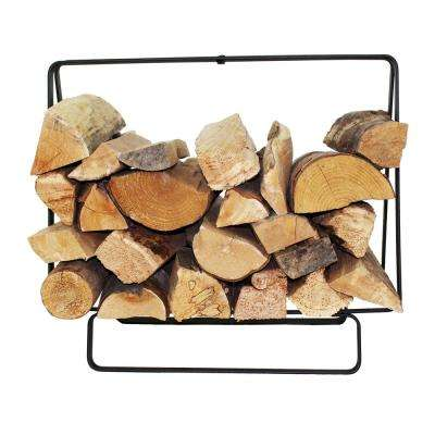 Handcrafted Indoor/Outdoor Small Rectangular Firewood Rack with Handle Black