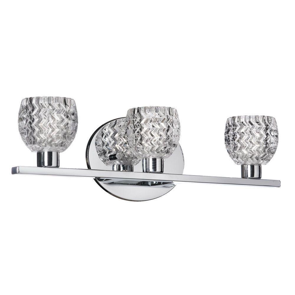 Radionic Hi Tech Dainolite 3-Light Polished Chrome Vanity Light with Cut Glass Crystal