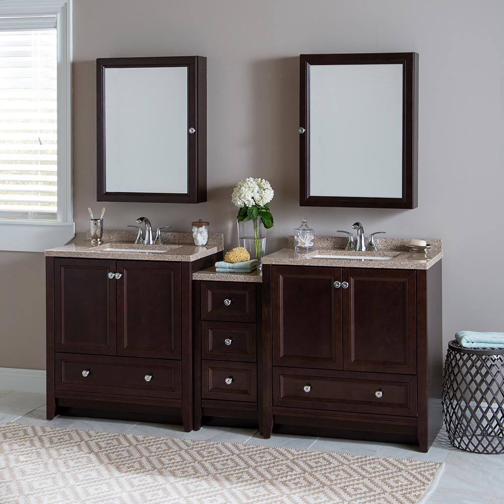 Delridge Bath Suite with 2 - 31 in. W Bath Vanities with Vanity tops and Linen Tower in Chocolate