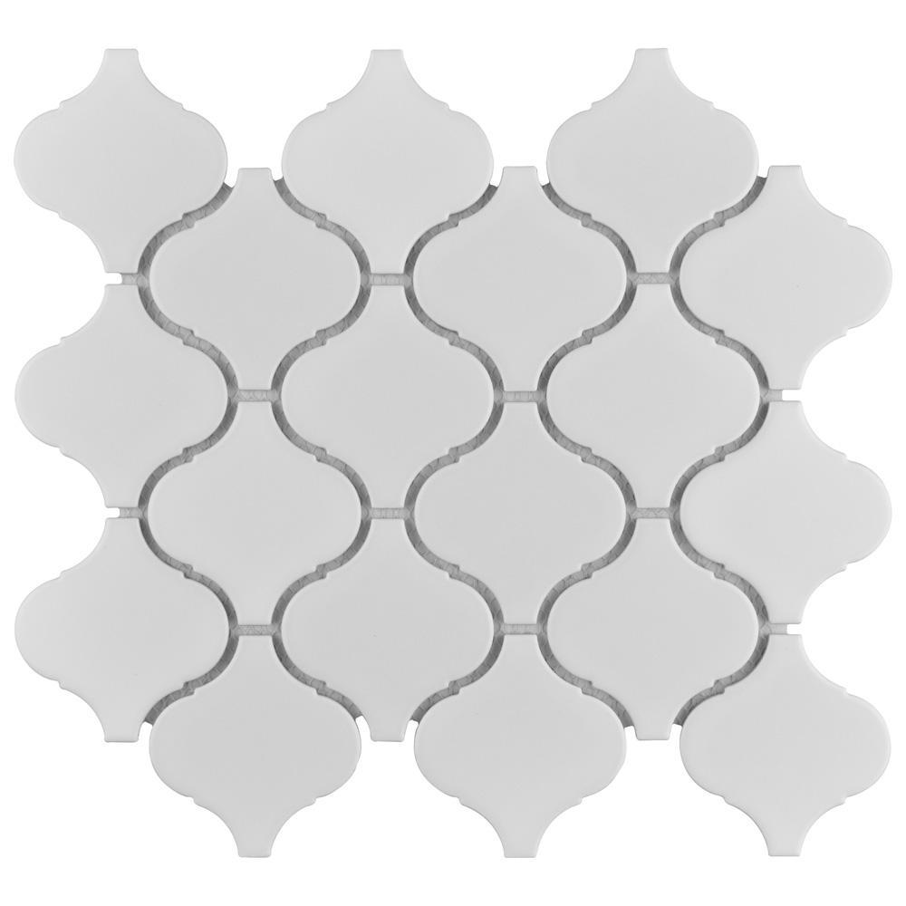 Metro Lantern Matte White 9-1/2 in. x 10-3/4 in. Porcelain Mosaic Tile (14.53 sq. ft./Case)