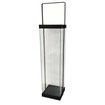 22 in. Modern Black Metal and Glass Lantern