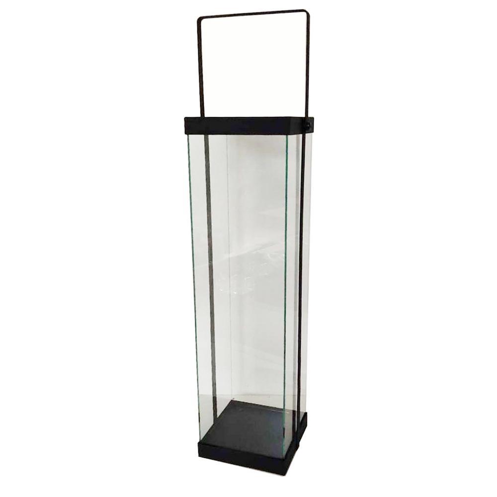 22 in. Modern Black Metal and Glass Lantern
