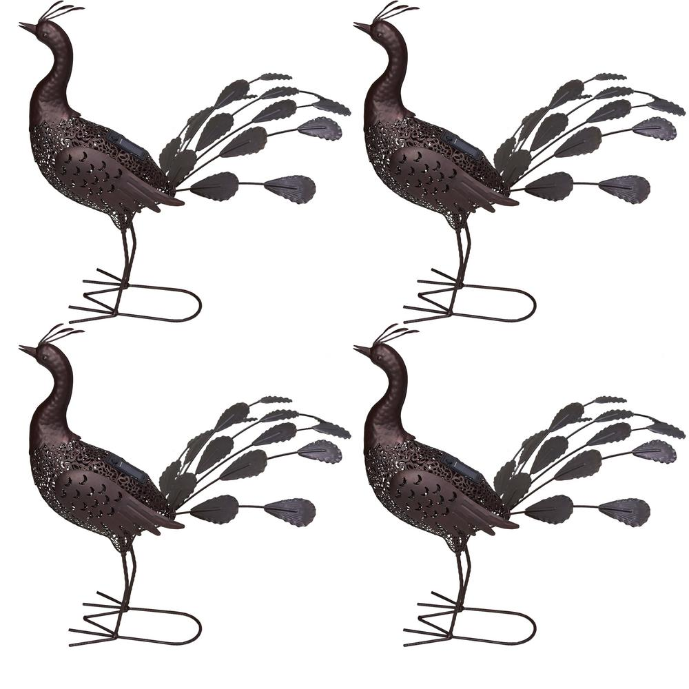 22 in. Steel Indoor/Outdoor Animal Garden Peacock Metal Sculpture Statue with
