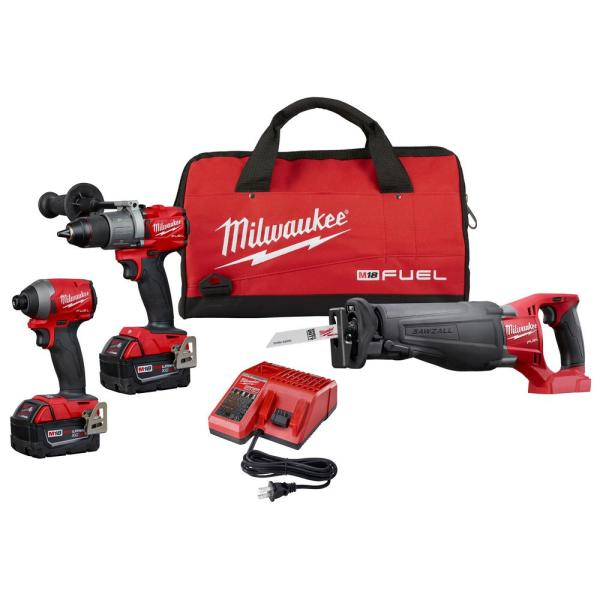 M18 FUEL 18-Volt Lithium-Ion Brushless Cordless Combo Kit (3-Tool) w/(2) 5Ah Batteries, Charger & Tool Bag