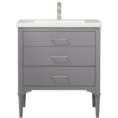 Mason 30 in. W x 18 in. D Bath Vanity in Gray with Porcelain Vanity Top in White with White Basin