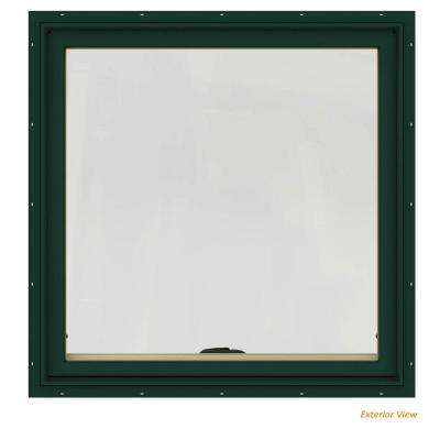 36 in. x 36 in. W-2500 Series Green Painted Clad Wood Awning Window w/ Natural Interior and Screen