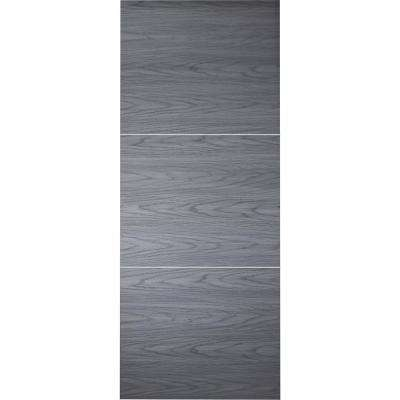 30 in. x 80 in. Luna 2H Blue Shadow Finished with Aluminum Strips Solid Core Composite Interior Door Slab No Bore