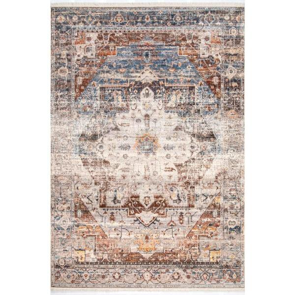 Nuloom Lillie Distressed Ivory 9 Ft X 12 Ft Area Rug Khmc35a 9012 The Home Depot