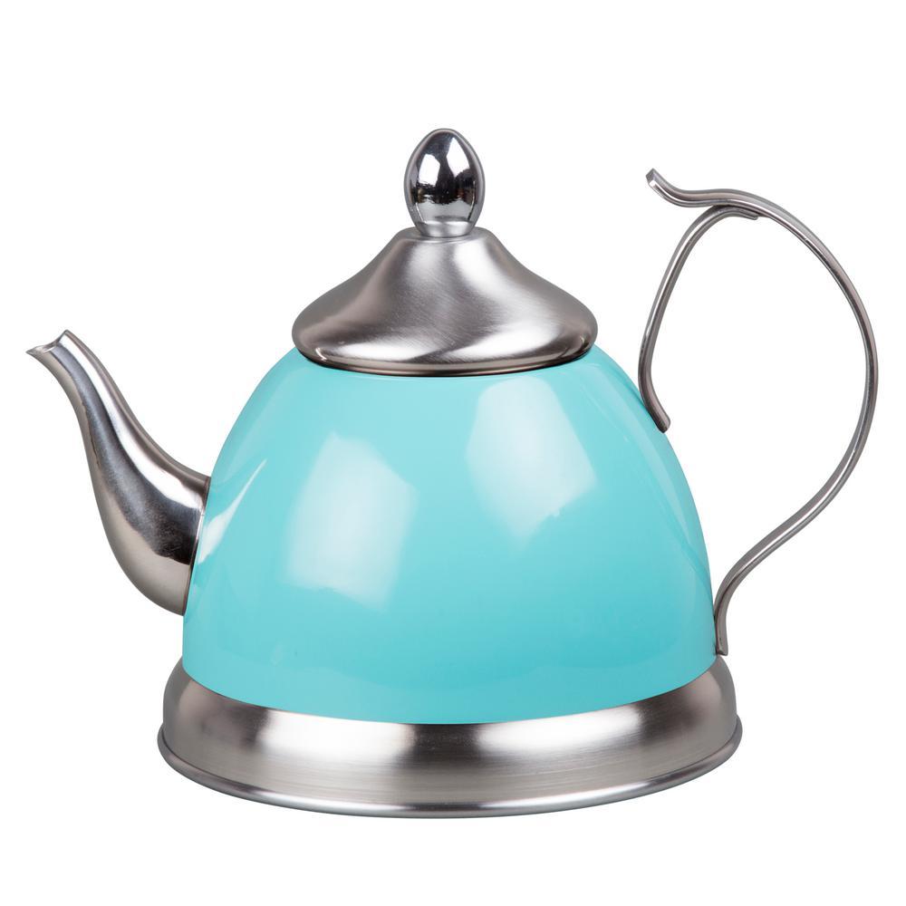 Nobili-Tea 1.0 qt. Aqua Sky Stainless Steel Tea Kettle with Removable Infuser Basket, Aluminum Capsulated Bottom