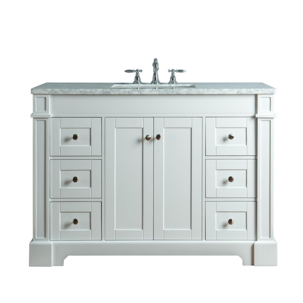 Seine 48 in. W x 22 in. D Bath  Vanity in White with Marble Vanity Top in Carrara White with White Basin