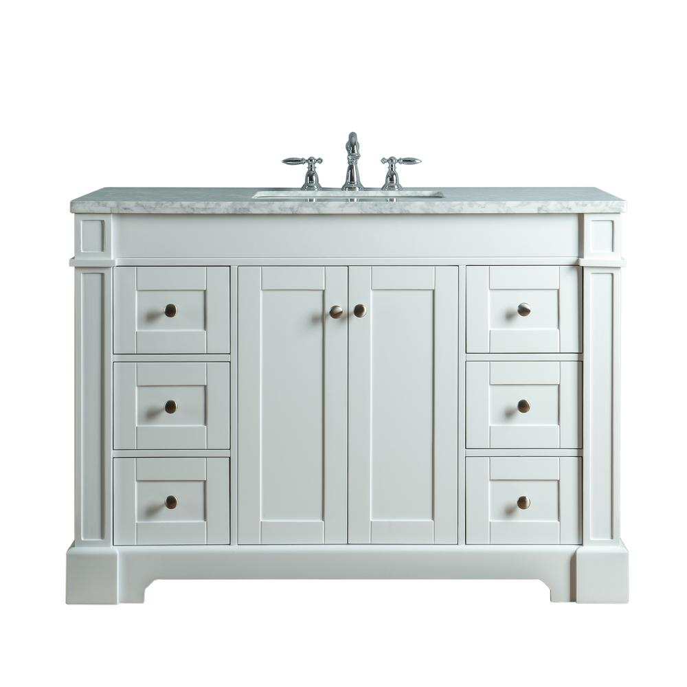 1c6ff555ae9 Seine 48 in. W x 22 in. D Bath Vanity in White with Marble Vanity Top in Carrara  White with White Basin