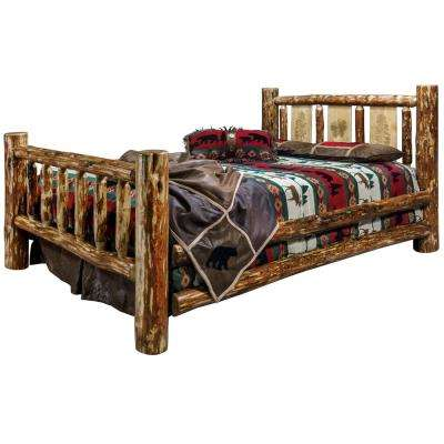 Glacier Brown King Laser Engraved Pine Motif Spindle Style Bed