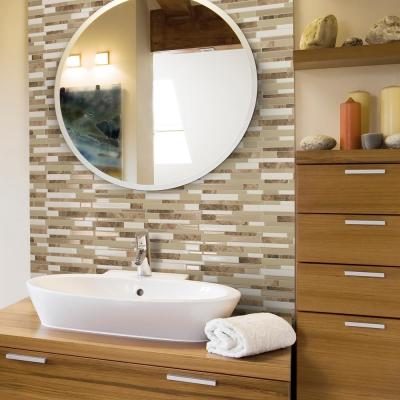 Milano Sasso 11.55 in. W x 9.65 in. H Brown and Beige Peel and Stick Self-Adhesive Decorative Mosaic Wall TileBacksplash