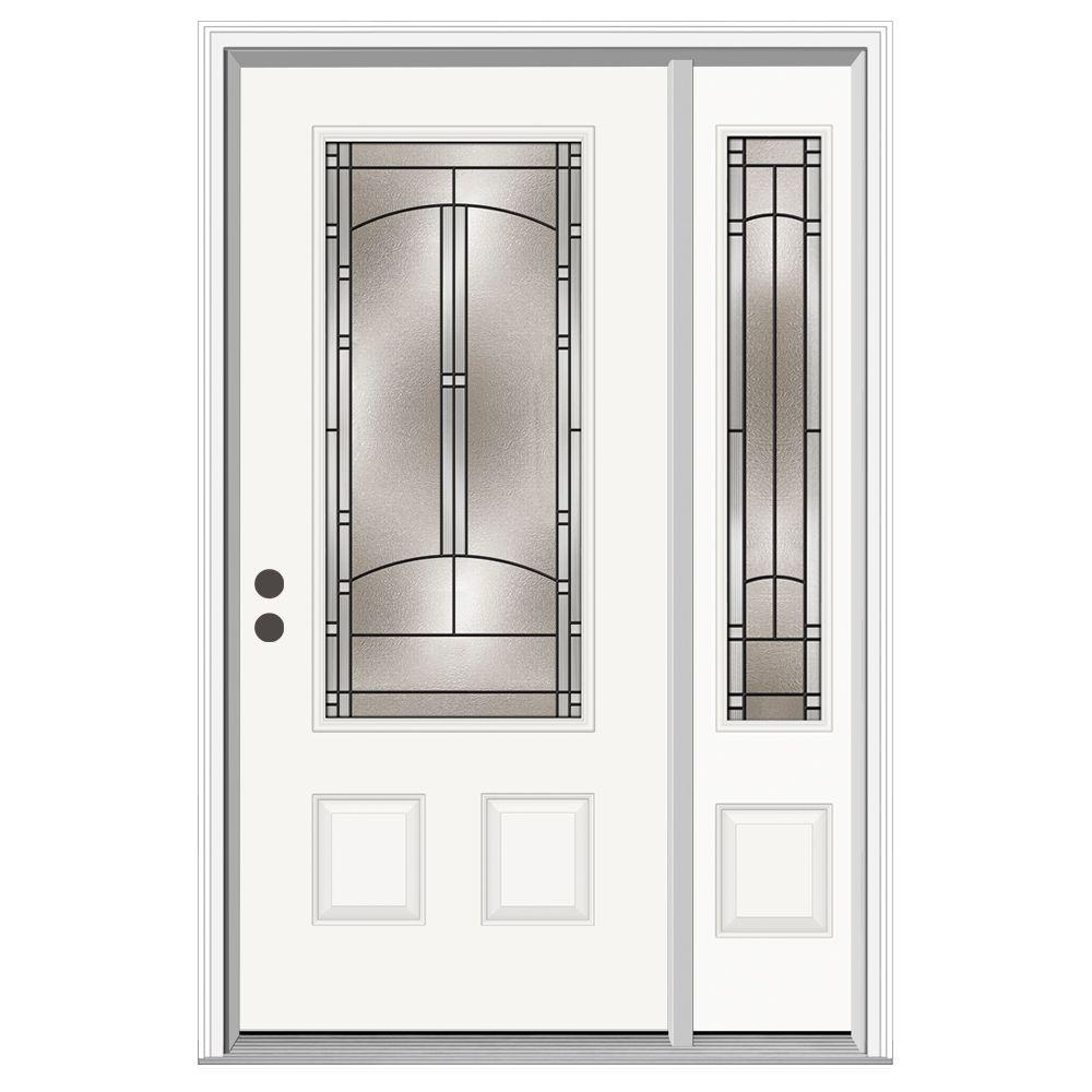 Jeld wen 50 in x 80 in 3 4 lite idlewild primed steel for Jeld wen front entry doors
