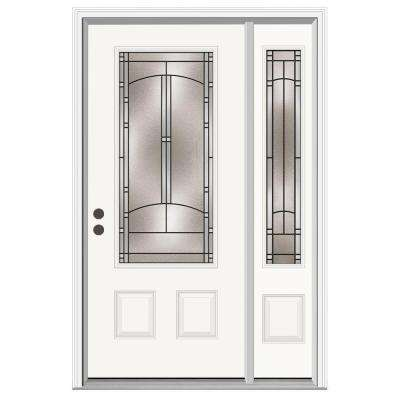 52 in. x 80 in. 3/4 Lite Idlewild Primed Steel Prehung Right-Hand Inswing Front Door with Right-Hand Sidelite