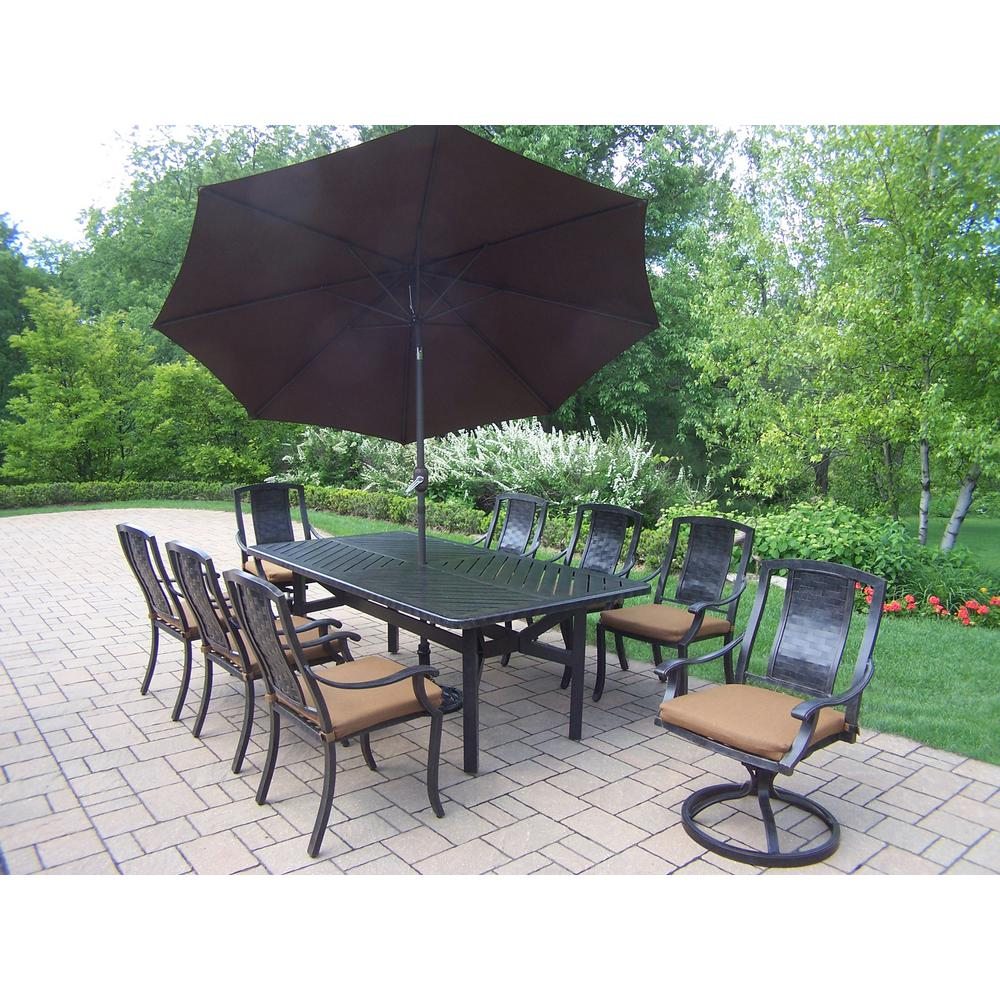 11 Piece Aluminum Outdoor Dining Set With Sunbrella Brown Cushions And Umbrella Hd7819t7815c67816s2d54 4005bn 4101 19 Mc The Home Depot