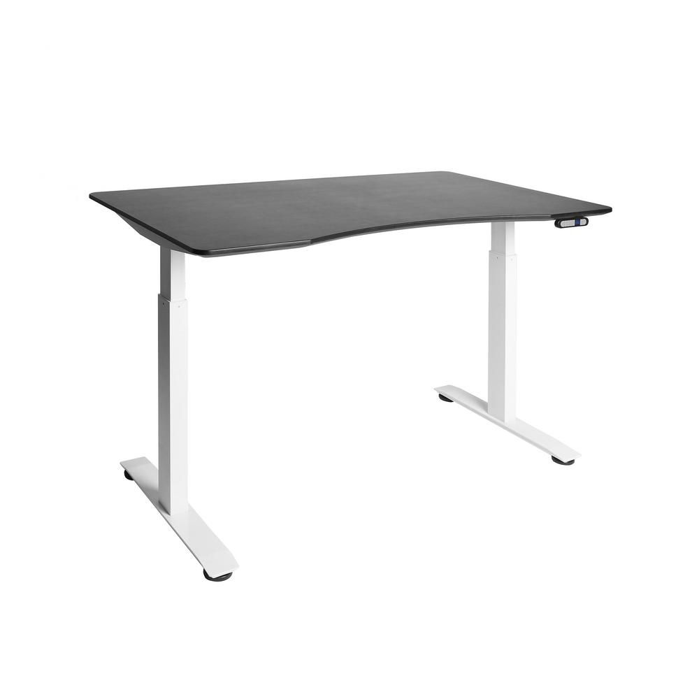 AIRLIFT S2 White Electric Standing Desk with Black Top, 4 Memory