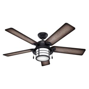 Hunter Key Biscayne 54 inch Indoor/Outdoor Weathered Zinc Gray Ceiling Fan with Light Kit by Hunter