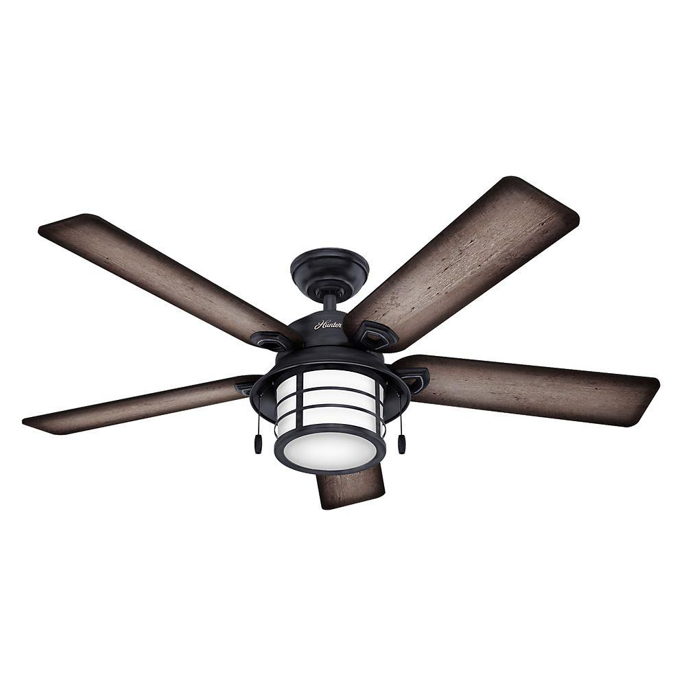 Hunter key biscayne 54 in indooroutdoor weathered zinc gray indooroutdoor weathered zinc gray ceiling fan with light kit 59135 the home depot aloadofball