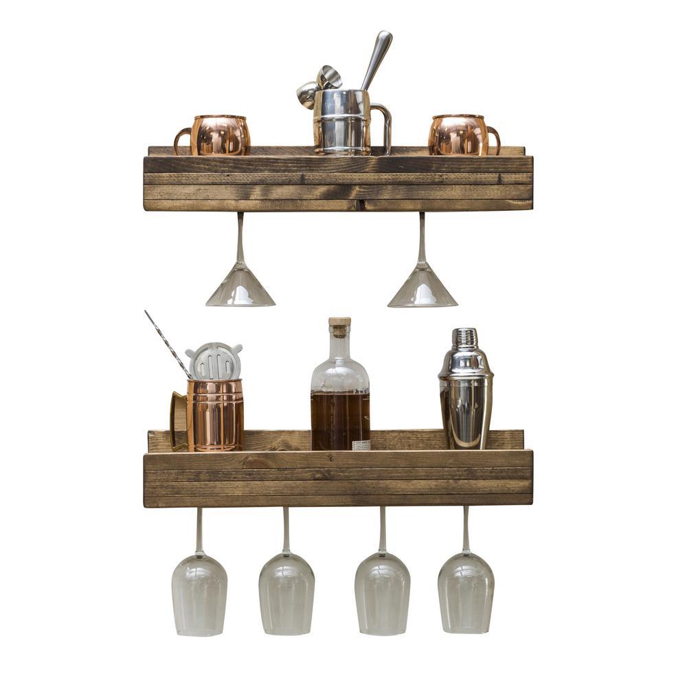 Rustic Luxe 5 in. x 24 in. x 5 in. Dark Walnut Pine Floating Glass Decorative Wall Shelf Rack (Set of 2)