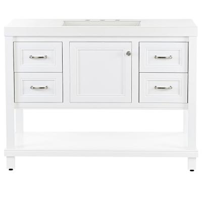 Everton 49 in. W x 19 in. D Bathroom Vanity in White with Cultured Marble Vanity Top in White with White Sink