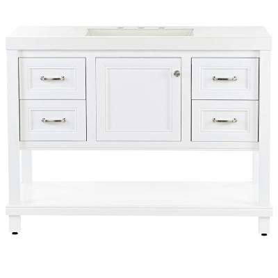 Everton 49.25 in. W x 19 in. D Bathroom Vanity in White with Cultured Marble Vanity Top in White with White Sink