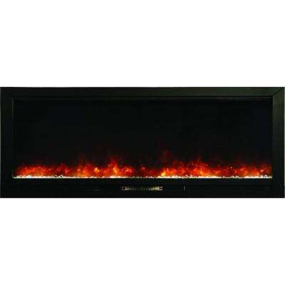 Knock Out 70 in. Recessed Electric Fireplace in Black