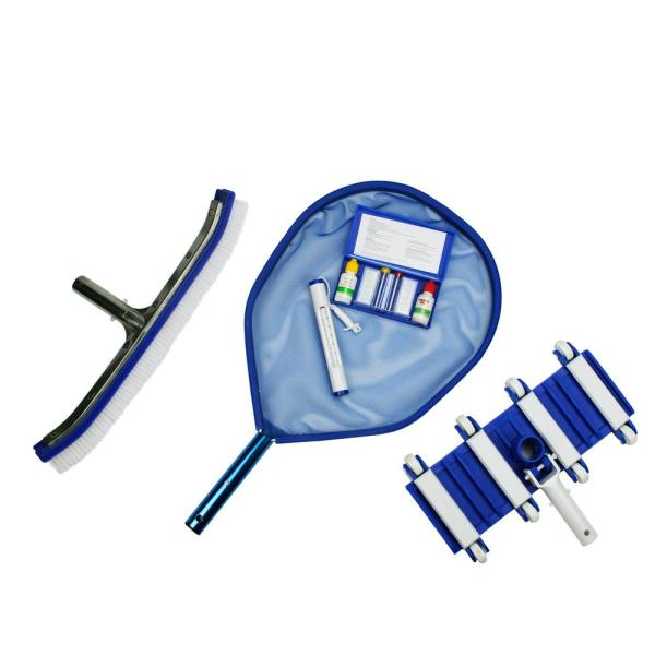 Deluxe Swimming Pool Kit - Vacuum Leaf Skimmer Wall Brush Thermometer and Test Kit (5-Piece)