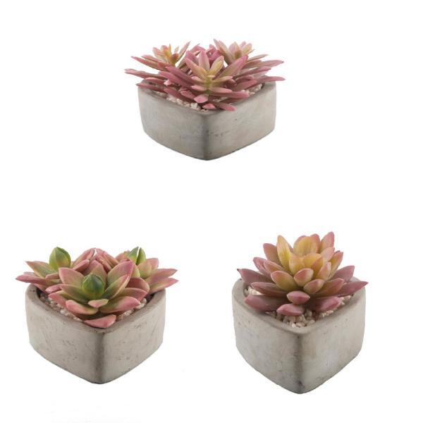 3.75 in. Set of 3 Faux Pink Succulents in Cement Heart Pot