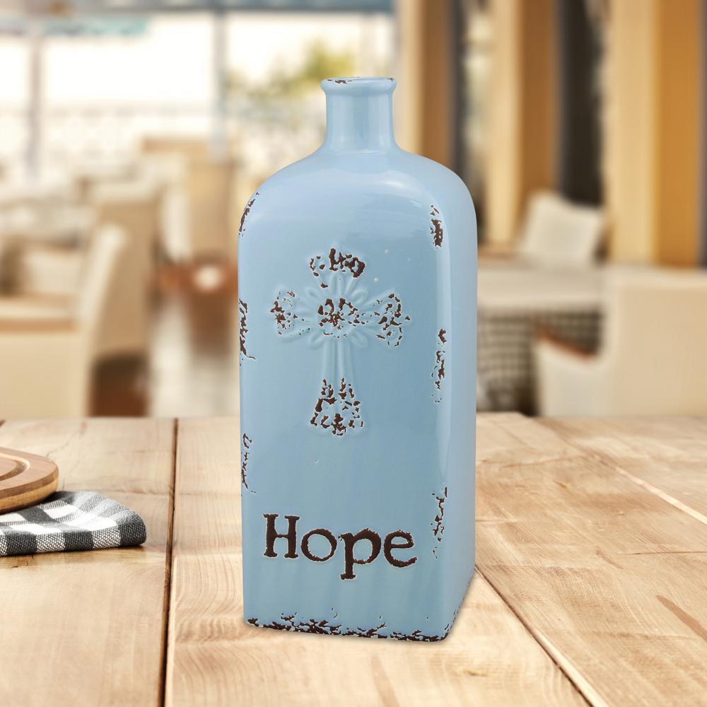 12 in. Serenity Ceramic Hope Vase in Blue