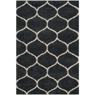 Hudson Shag Dark Gray/Ivory 3 ft. x 5 ft. Area Rug