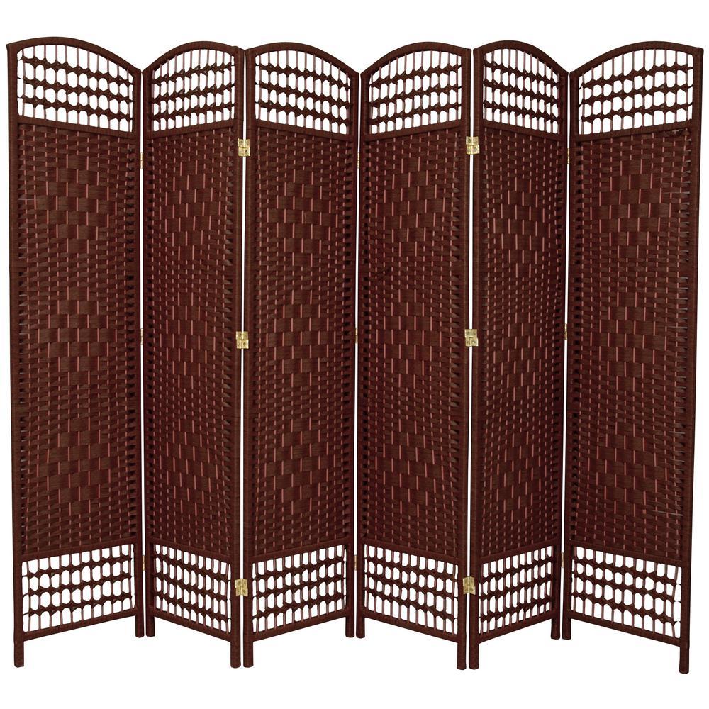 5.5 ft. Dark Red 6-Panel Room Divider