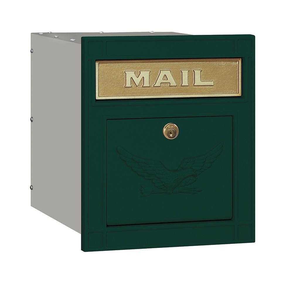 4100 Series 11.5 in. W x 13.25 in. H x 15.75 in. D Green Locking Eagle Door Cast Aluminum Column Mailbox