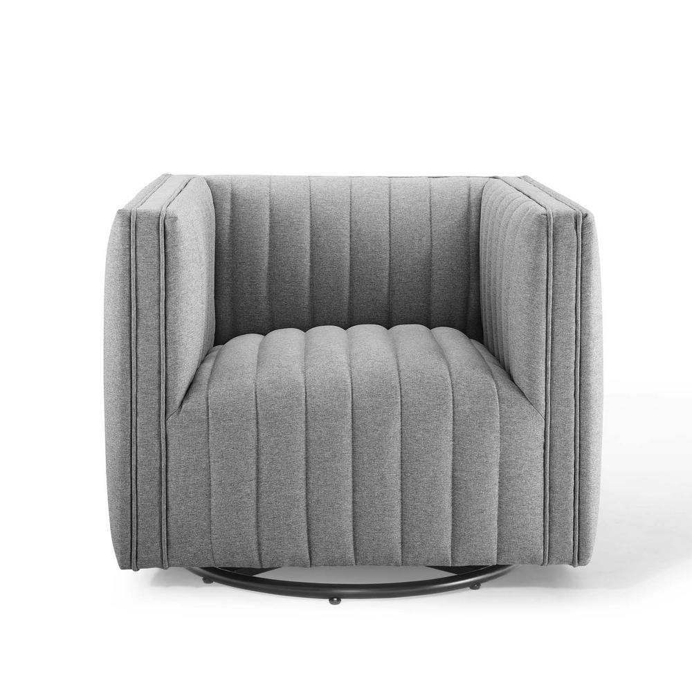 Perception Light Gray Tufted Swivel Upholstered Armchair