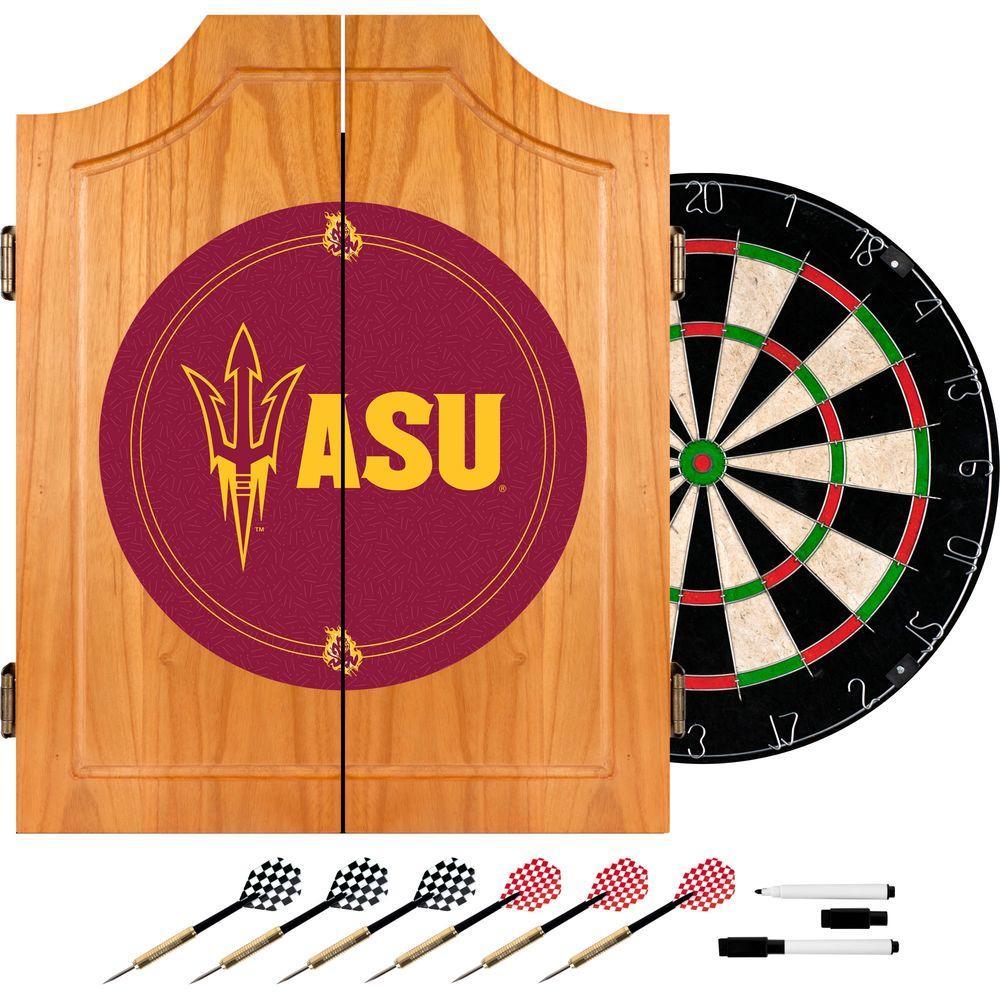 Arizona State University Wood Finish Dart Cabinet Set