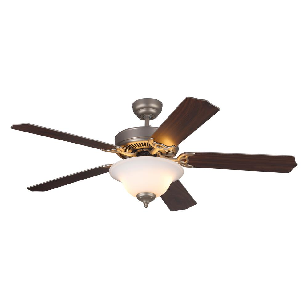 Monte Carlo Homeowners Deluxe 52 in. Brushed Pewter with Dual Walnut or Silver Blade Ceiling Fan