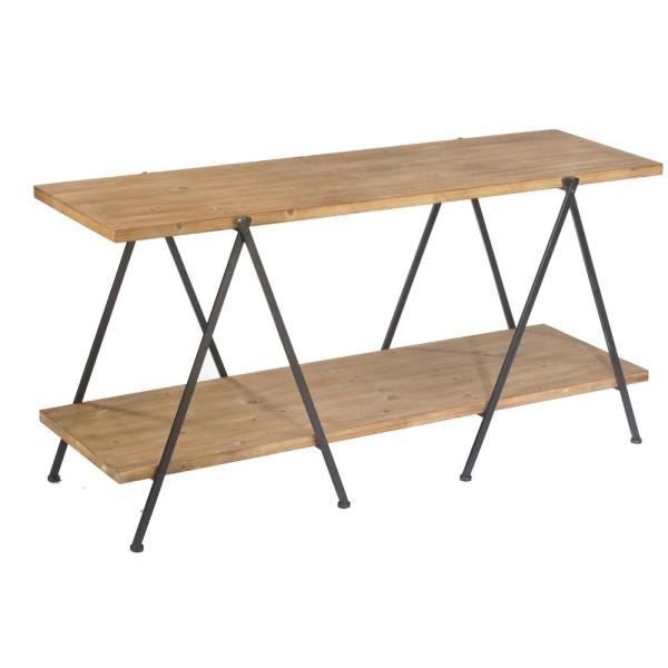 Natural and Black 2-Tier Wooden Plank Console Table