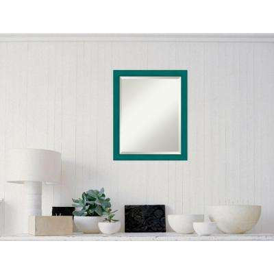 French Teal Rustic Wood 18 in. W x 22 in. H Distressed Framed Mirror