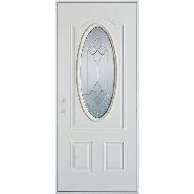37.375 in. x 82.375 in. Geometric Brass 3/4 Oval Lite 2-Panel Painted White Right-Hand Inswing Steel Prehung Front Door