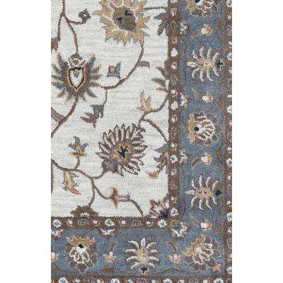Valintino Taupe Border Hand Tufted Wool 9 Ft X 12 Area Rug