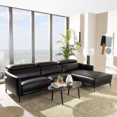 Paige 2-Piece Black Leather Sleep Sectional