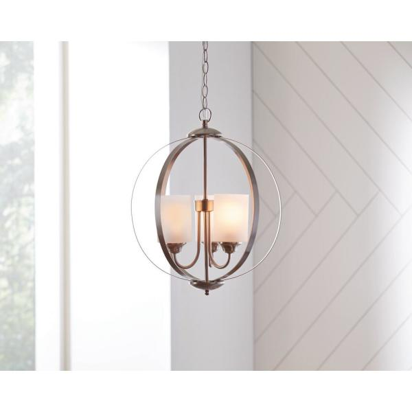 Hampton Bay Findlay 3 Light Brushed Nickel Chandelier With Etched White Glass Shades Wb1002 Cl The Home Depot