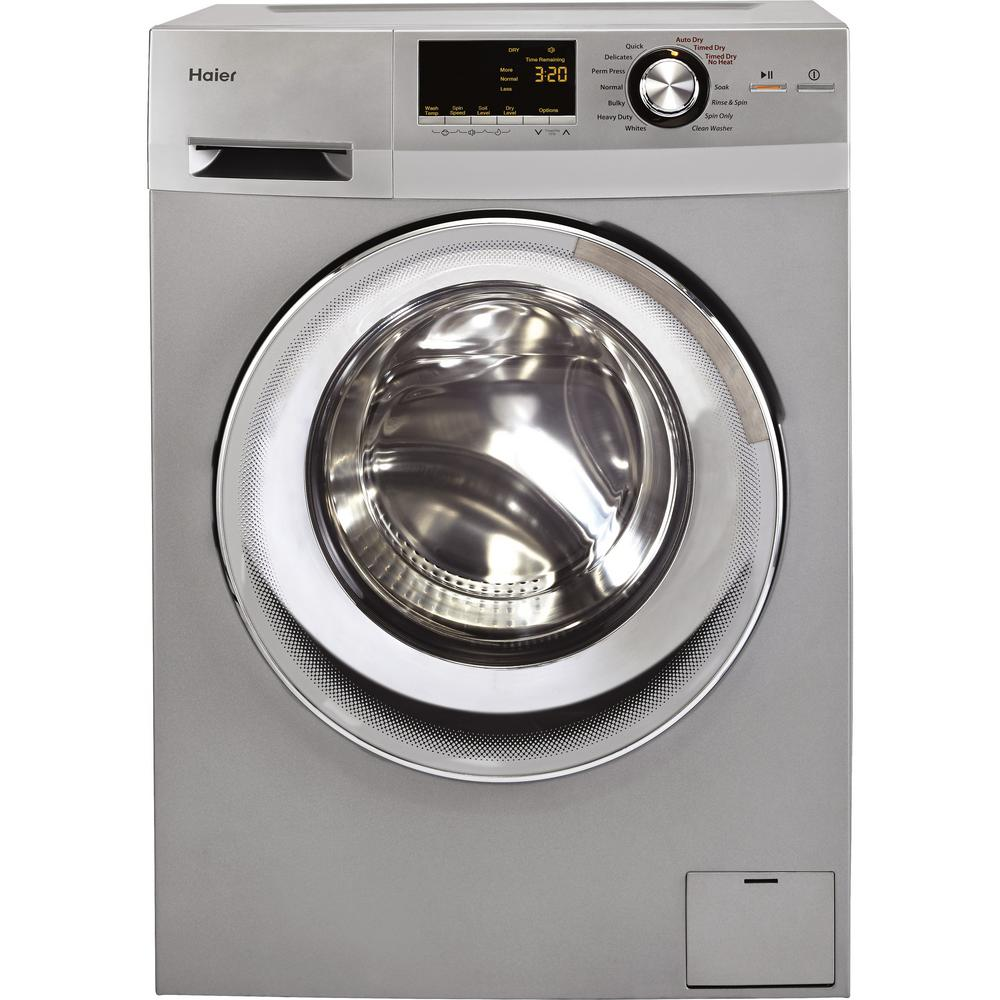 Haier 2.0 cu. ft. Silver High-Efficiency 120-Volt Ventless Electric All-in-One Washer Dryer Combo