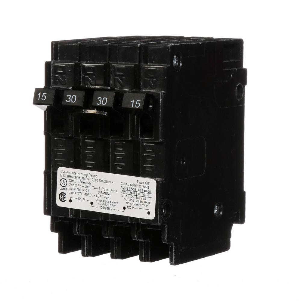Triplex 2-Outer 15 Amp Single-Pole and 1-Inner 30 Amp Double-Pole Circuit