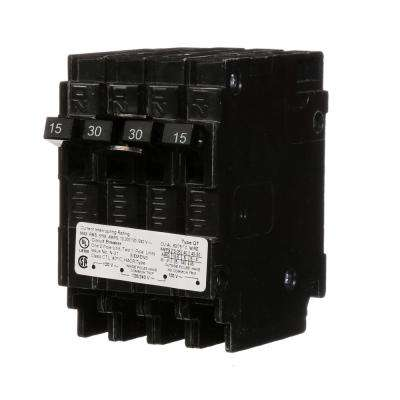 Triplex 2-Outer 15 Amp Single-Pole and 1-Inner 30 Amp Double-Pole Circuit Breaker